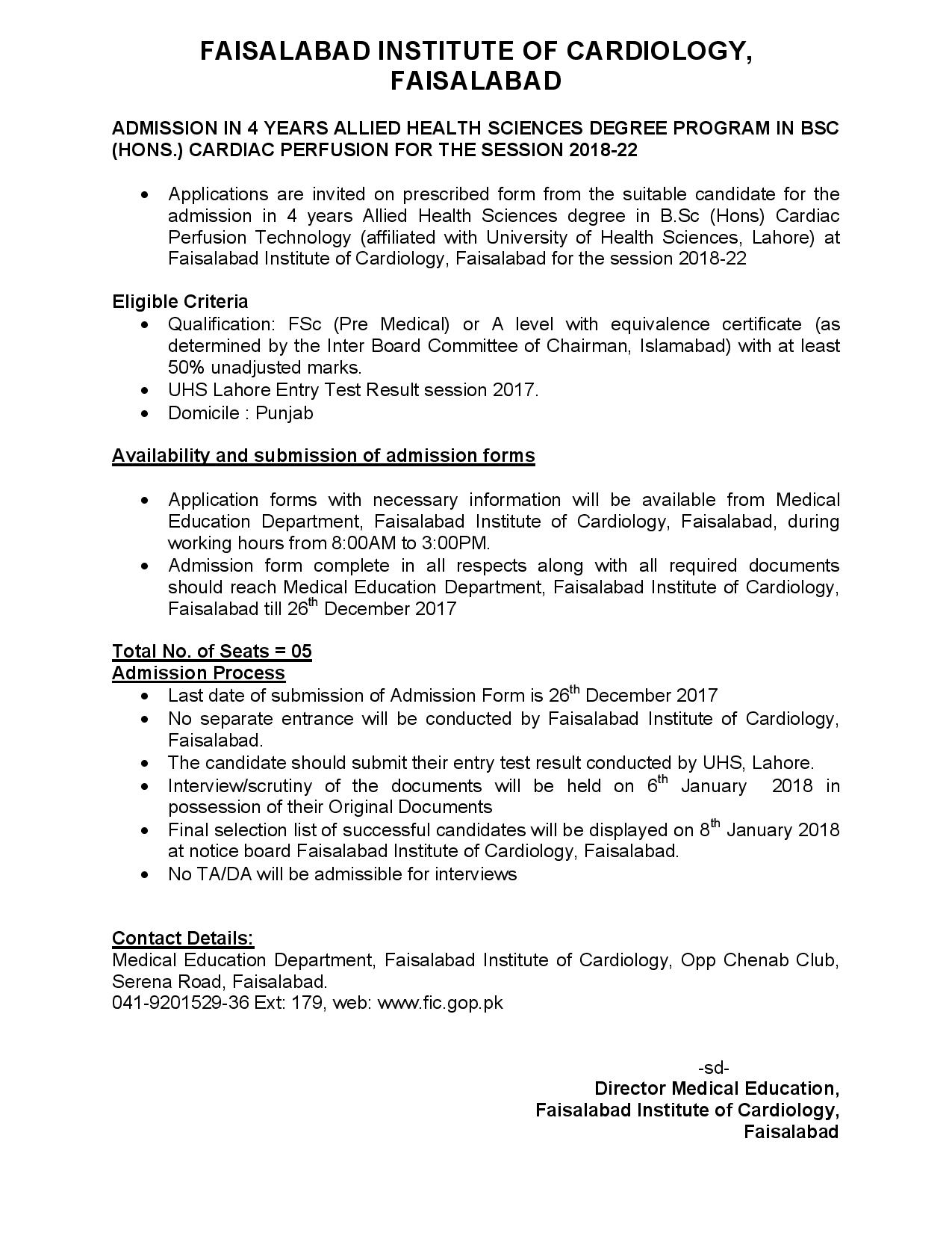 Faisalabad Institute of Cardiology BSc (Hons) Cardiac Perfusion Admissions 2018-22