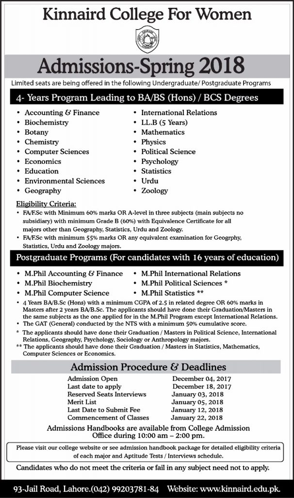 Kinnard college for women lahore Admission Spring-2018