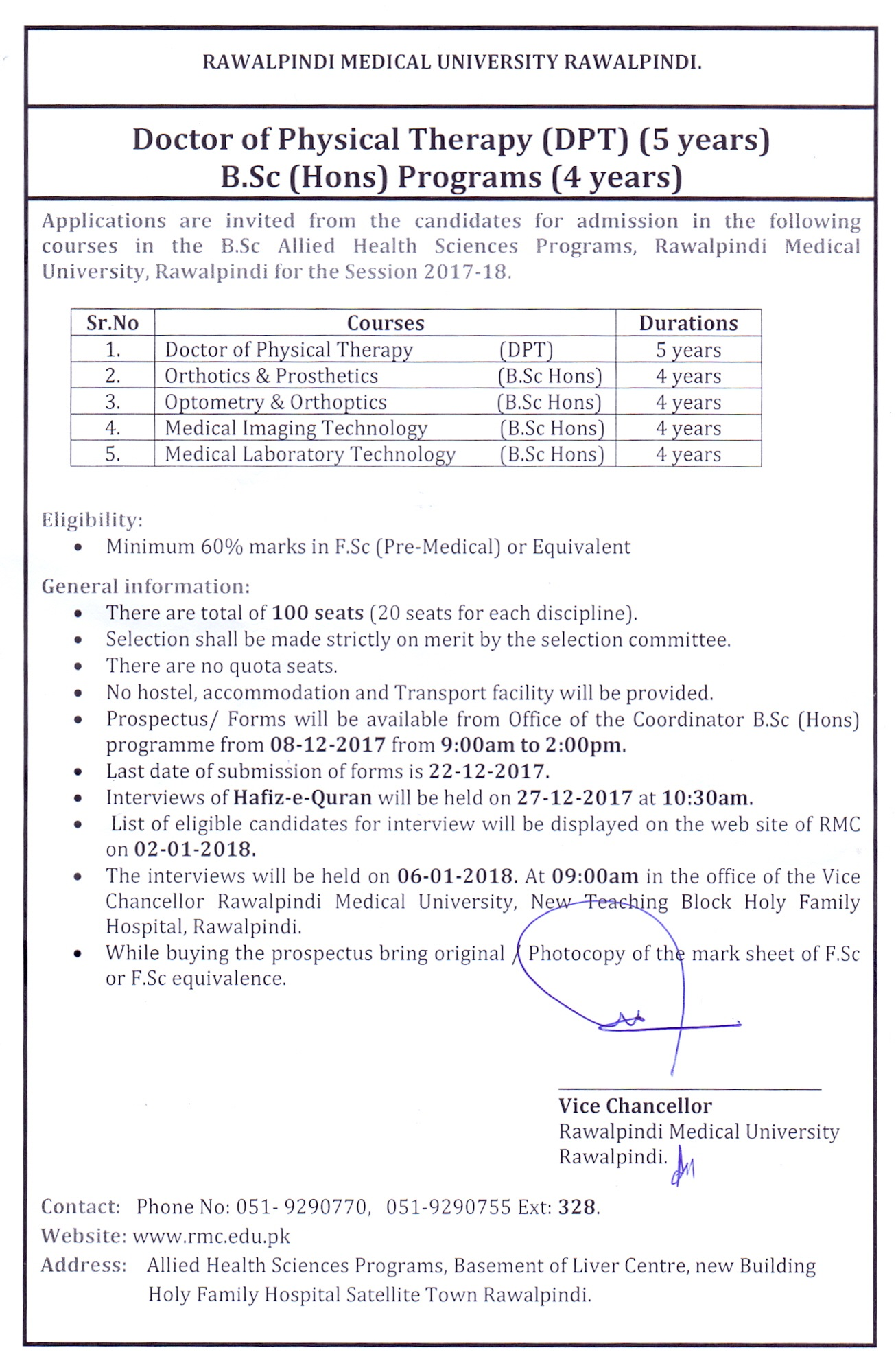 Rawalpindi Medical University Admissions 2017-18