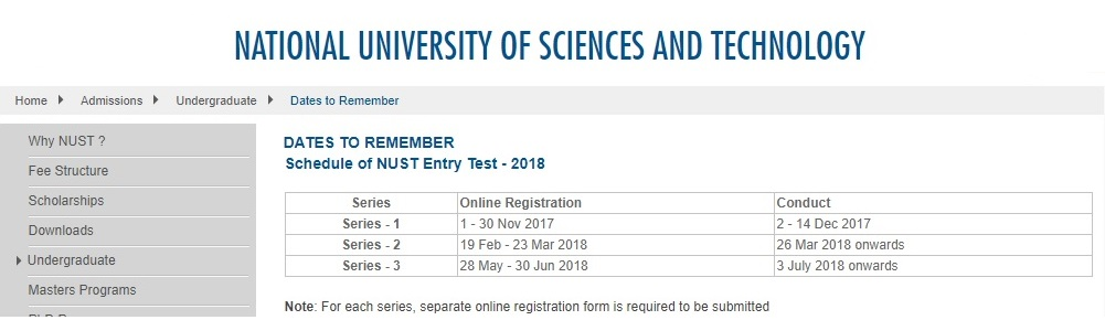 National University of Sciences and Technology (NUST) Entry Test Schedule 2018