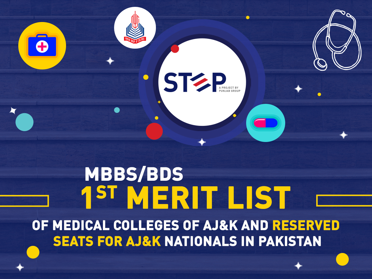 1st Merit List for MBBS/BDS of Medical Colleges of AJ&K and Reserved Seats for AJ&K Nationals in Pakistan