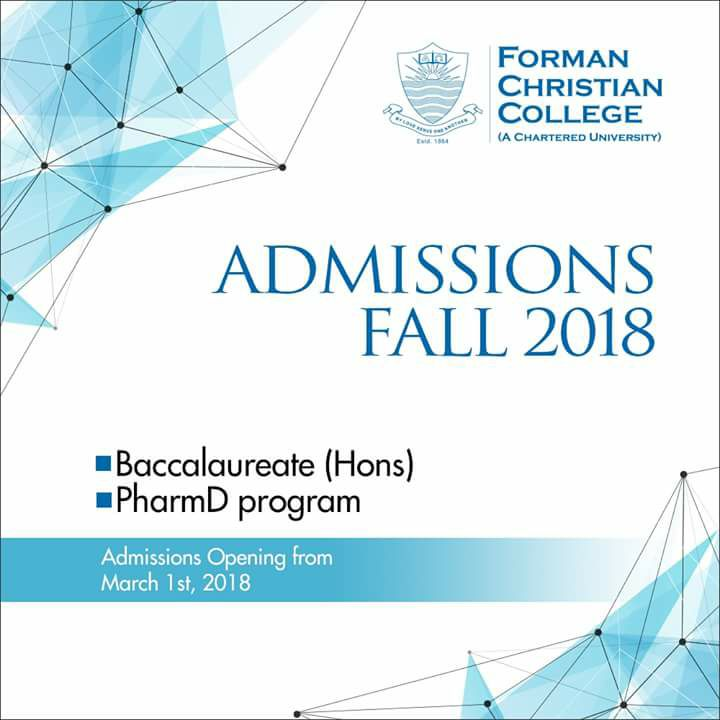 Forman Christian College (FCCU) – Admissions Fall 2018
