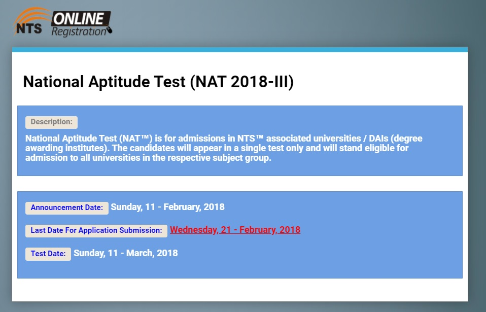 National Aptitude Test  (NAT-I) 2018