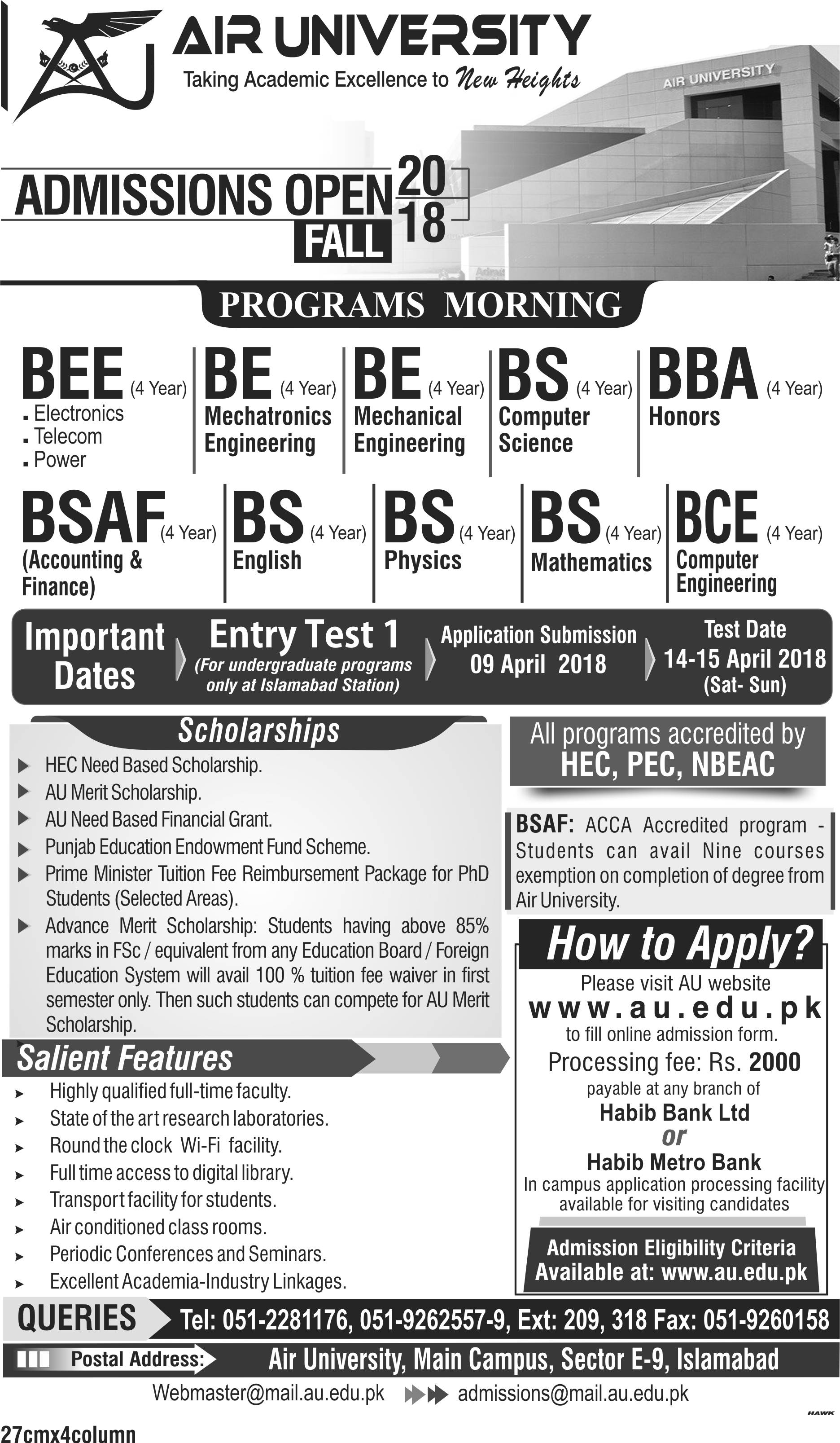 Air University (Islamabad) – Admission Open 2018
