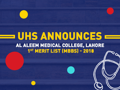 Al Aleem Medical College, Lahore 1st Merit List (MBBS) – 2018
