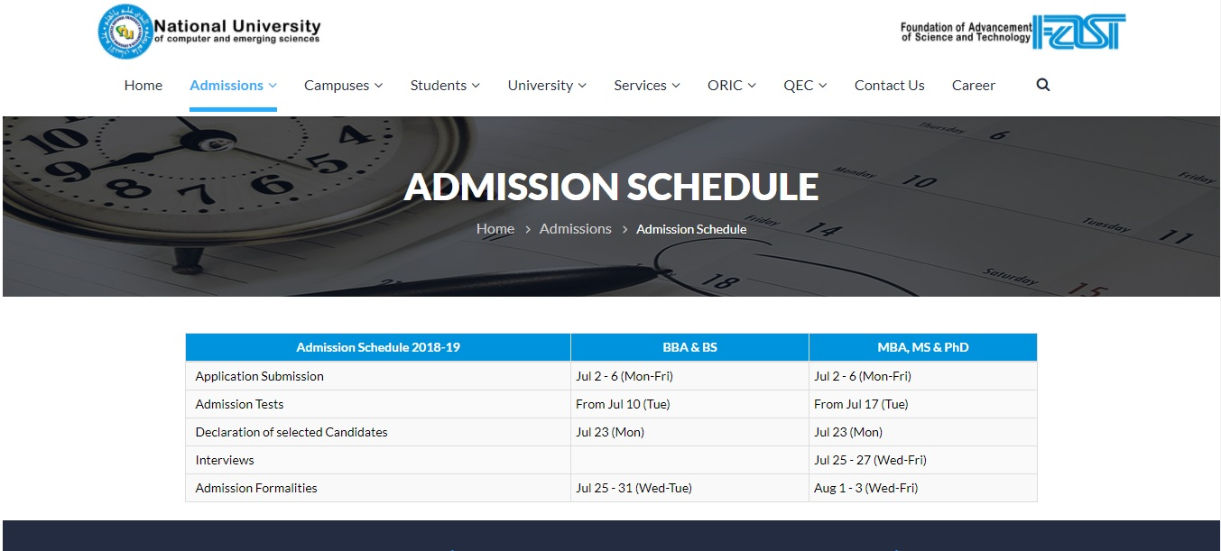 National University of Computer & Emerging Sciences (FAST-NU) – Admissions 2018
