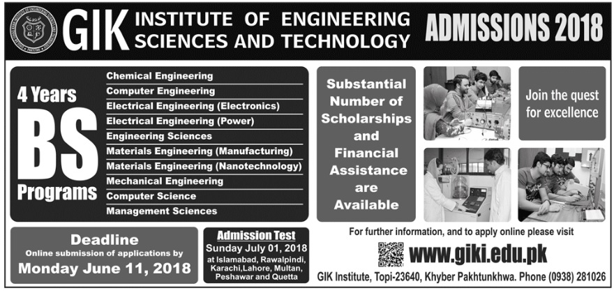 GIK Institute of Engineering Sciences & Technology – Admissions 2018