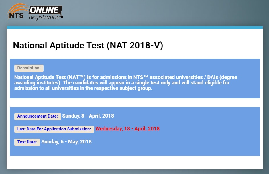 National Aptitude Test (NAT 2018-V) for Admissions in NTS Associated Universities/DAIs