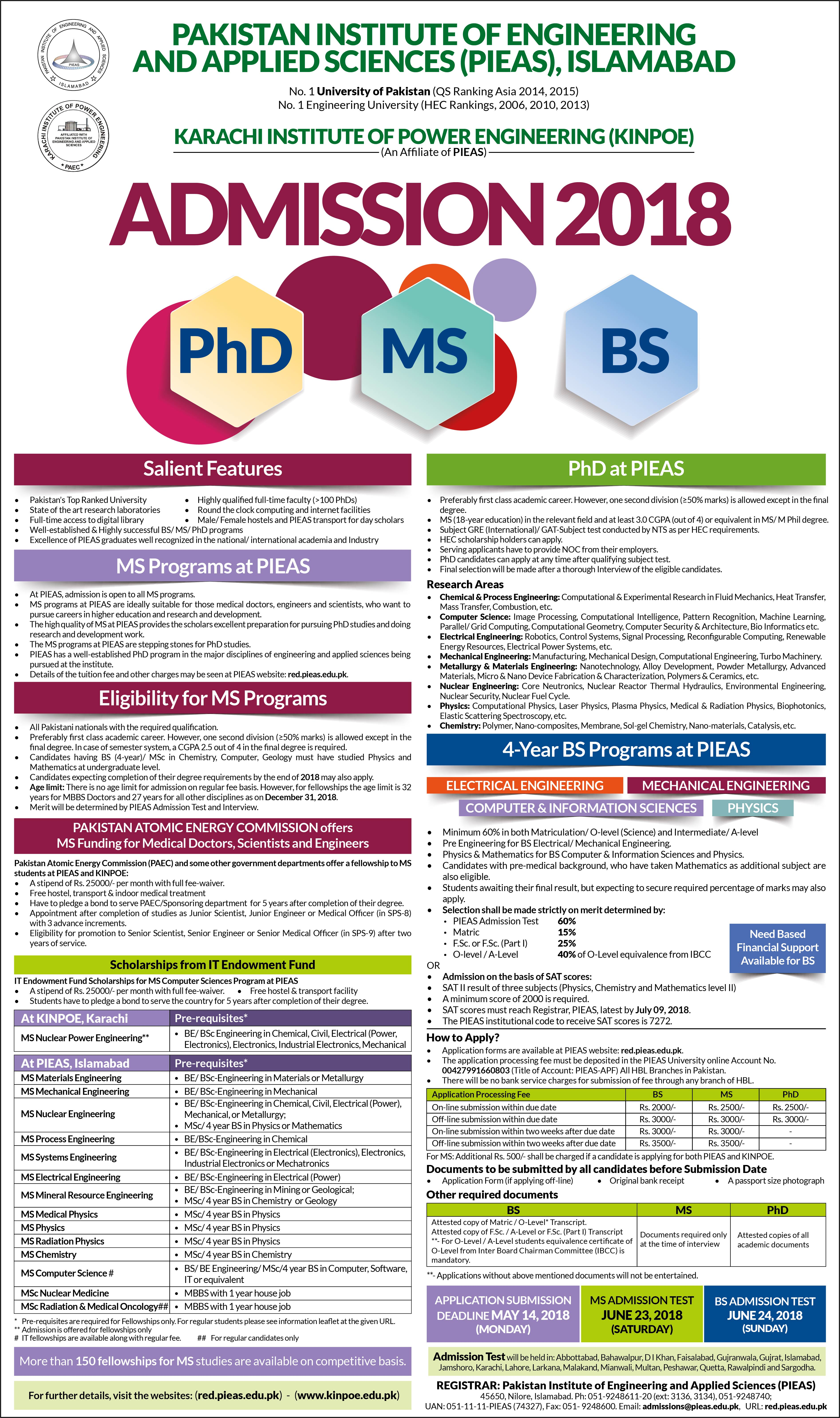 Pakistan Institute of Engineering and Applied Sciences (PIEAS), Islamabad – Admissions 2018