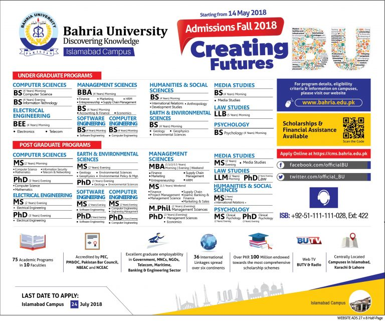 Bahria University – Admissions 2018