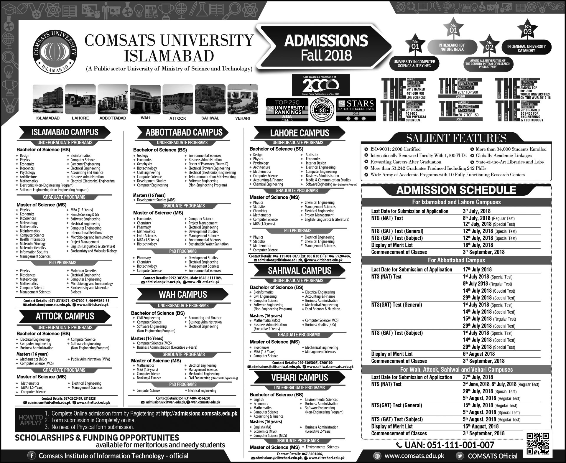 COMSATS University, Islamabad - Admissions Fall 2018 - STEP