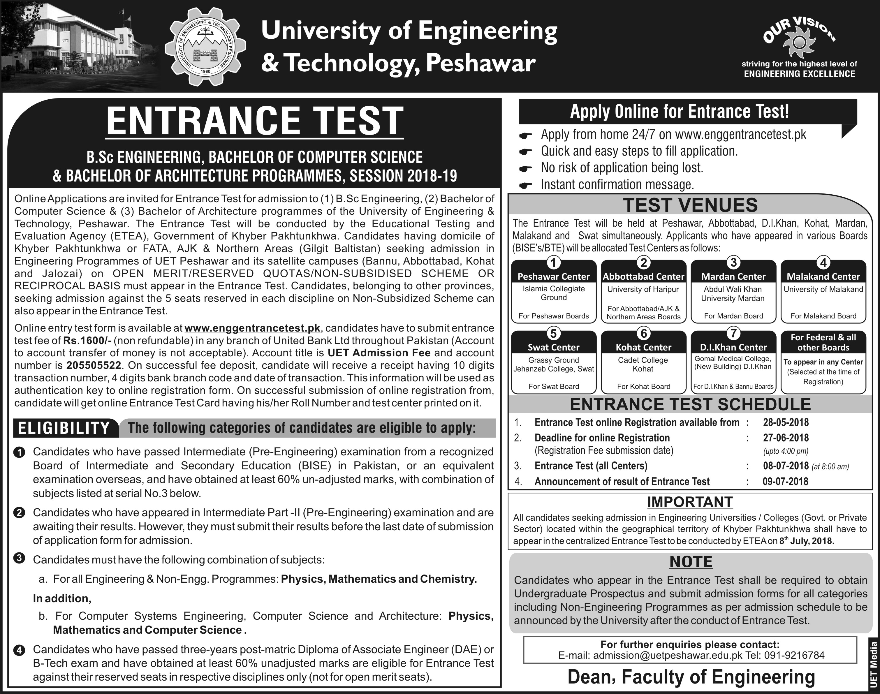 University of Engineering & Technology (UET), Peshawar – Admissions 2018