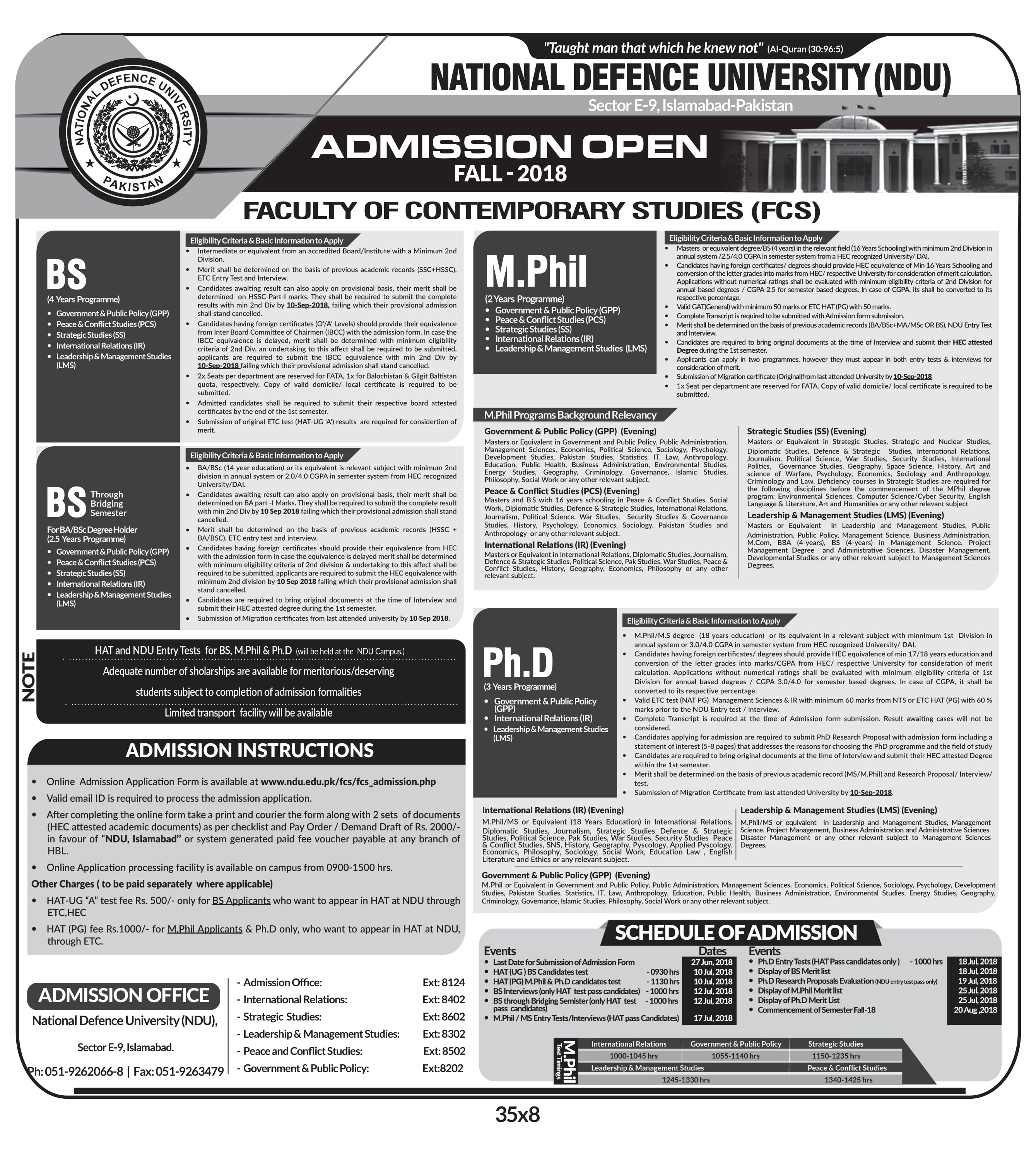 National Defence University, Islamabad (NDU) – Admission Open 2018