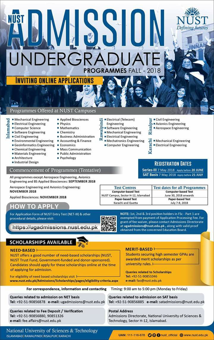 National University of Sciences and Technology (NUST) – NET III  Undergraduate Admissions 2018