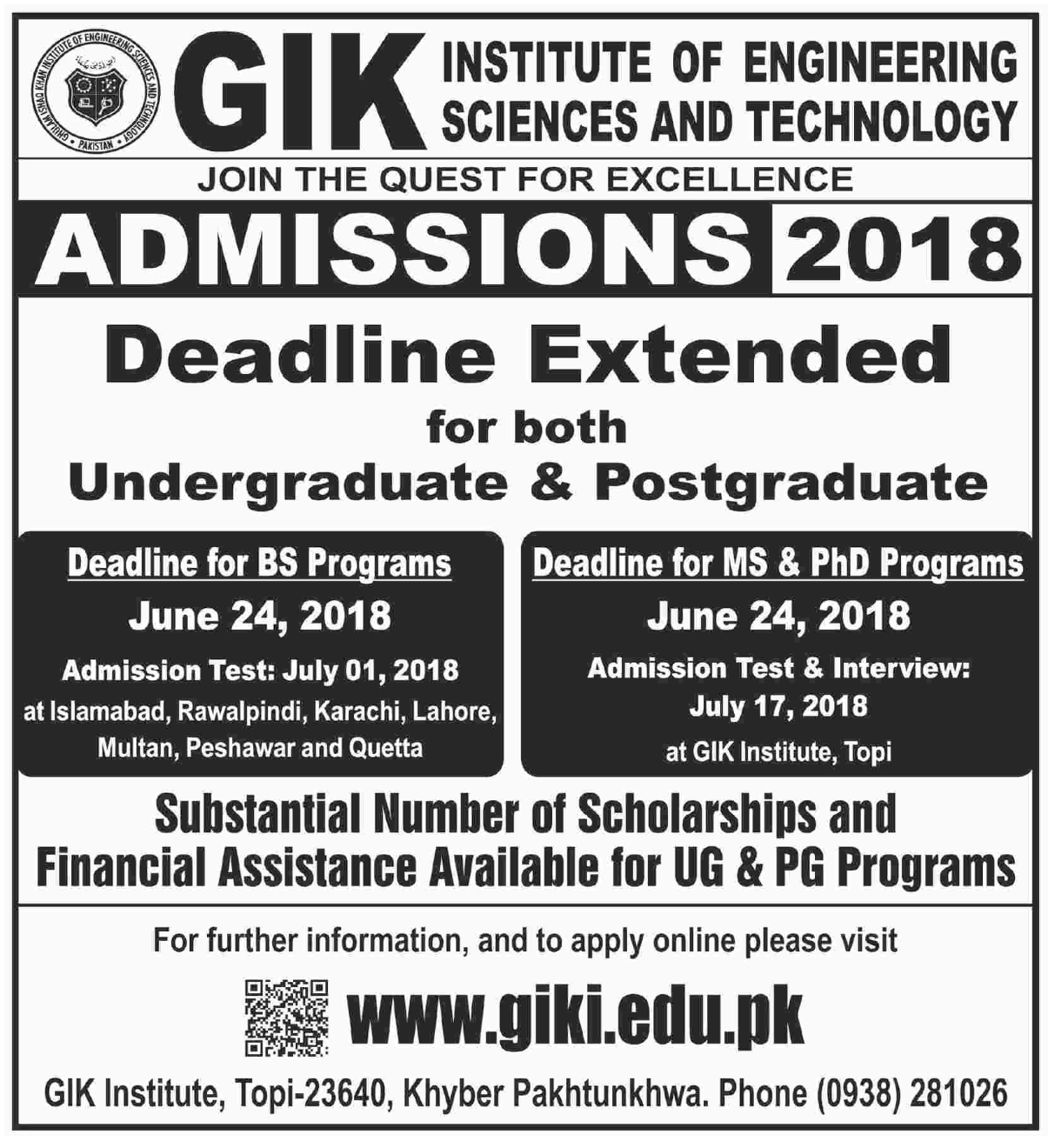 GIK Institute of Engineering Science & Technology (Deadline Extended) – Admissions 2018