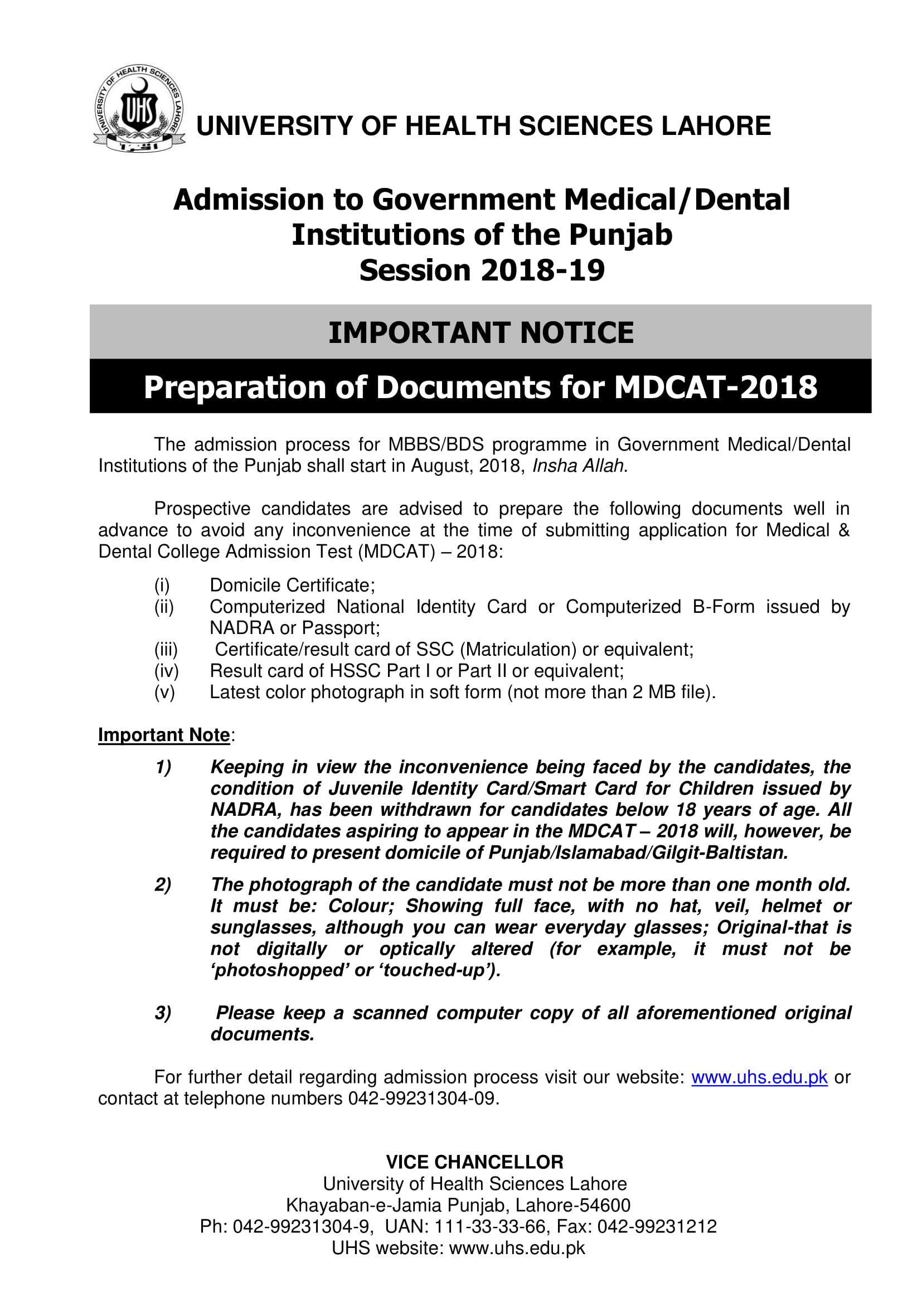 Important UHS Announcement! – Preparation of Documents for MDCAT 2018