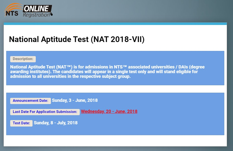 National Aptitude Test (NAT 2018 – VII) For Admissions in NTS Associated Universities/DAIs