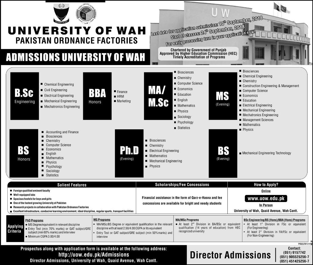 University of WAH – Admissions 2018