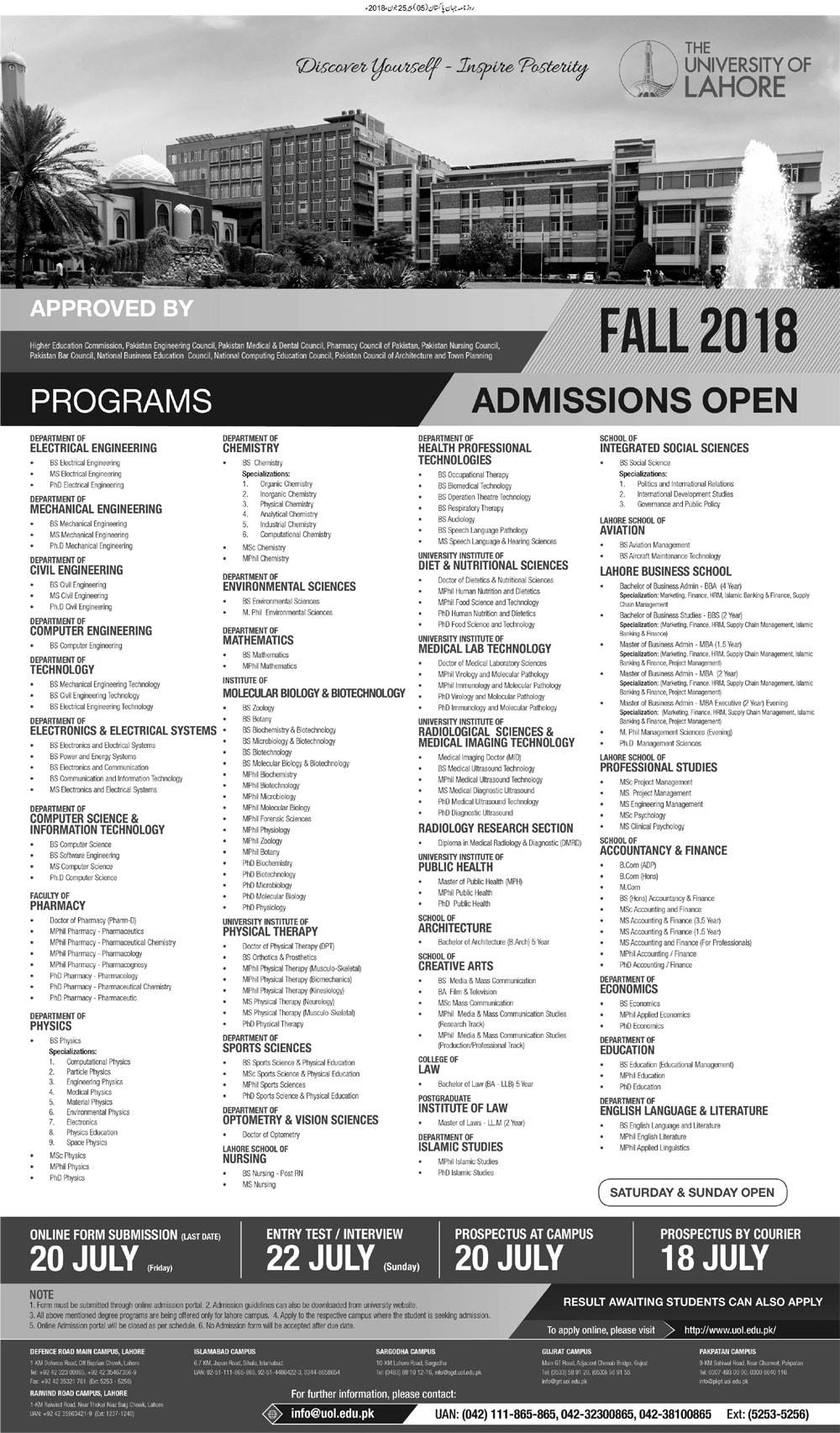 The University of Lahore – Admissions Fall 2018