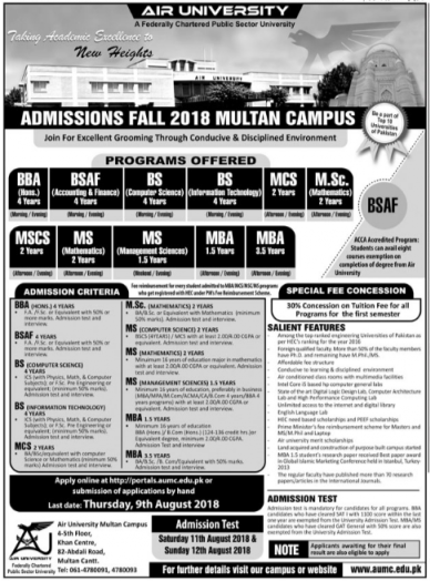 Extended Dates for Air University – Admissions 2018 (Multan Campus)