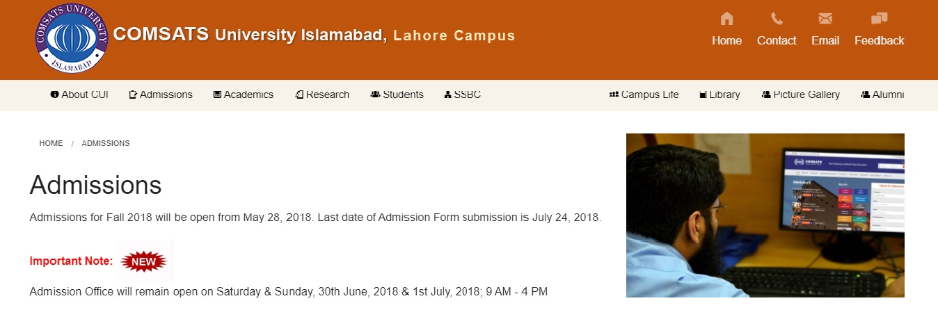 Deadline Extended for COMSATS University – Lahore Campus