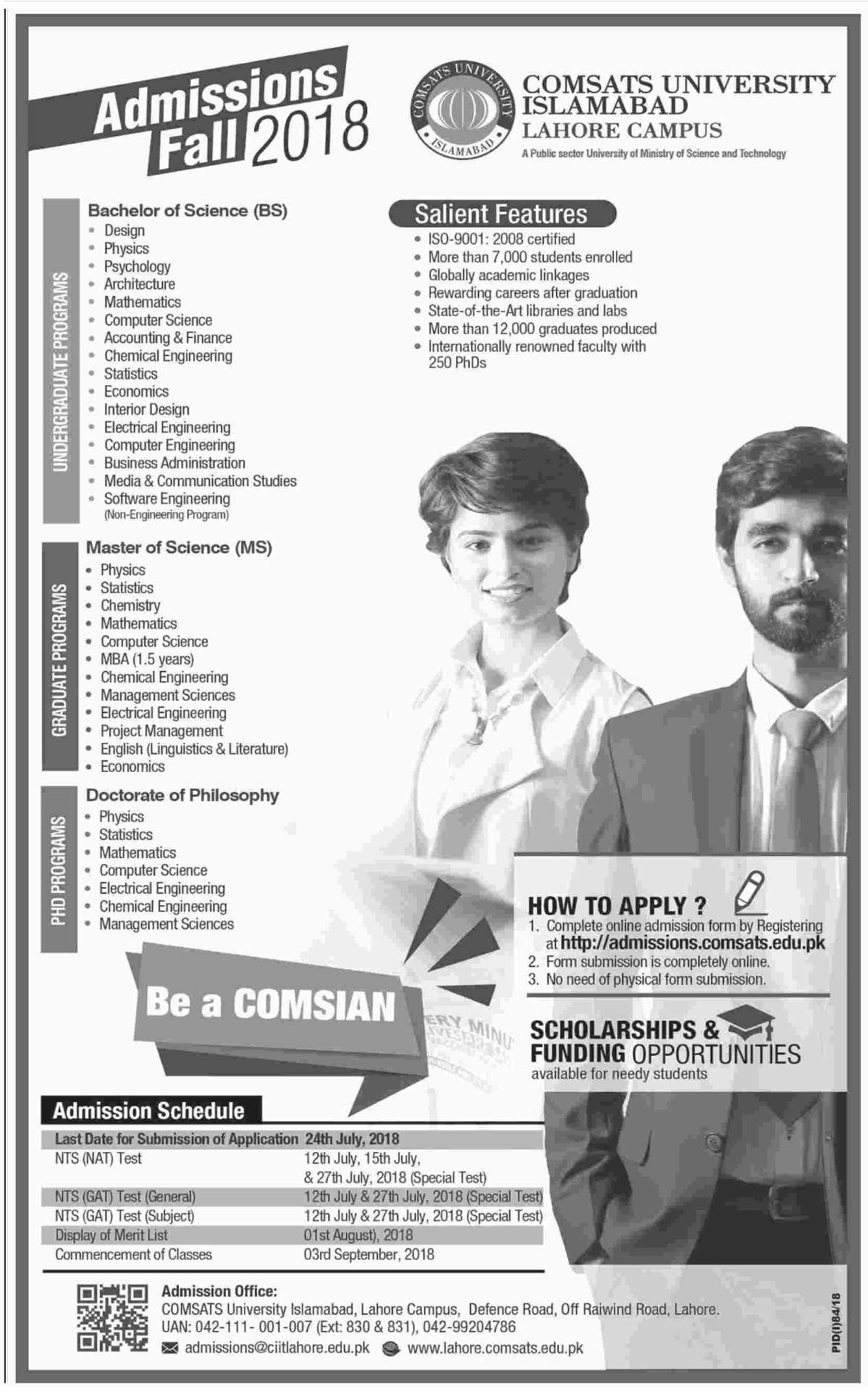 Revised Schedule of COMSATS Lahore Campus Admissions 2018