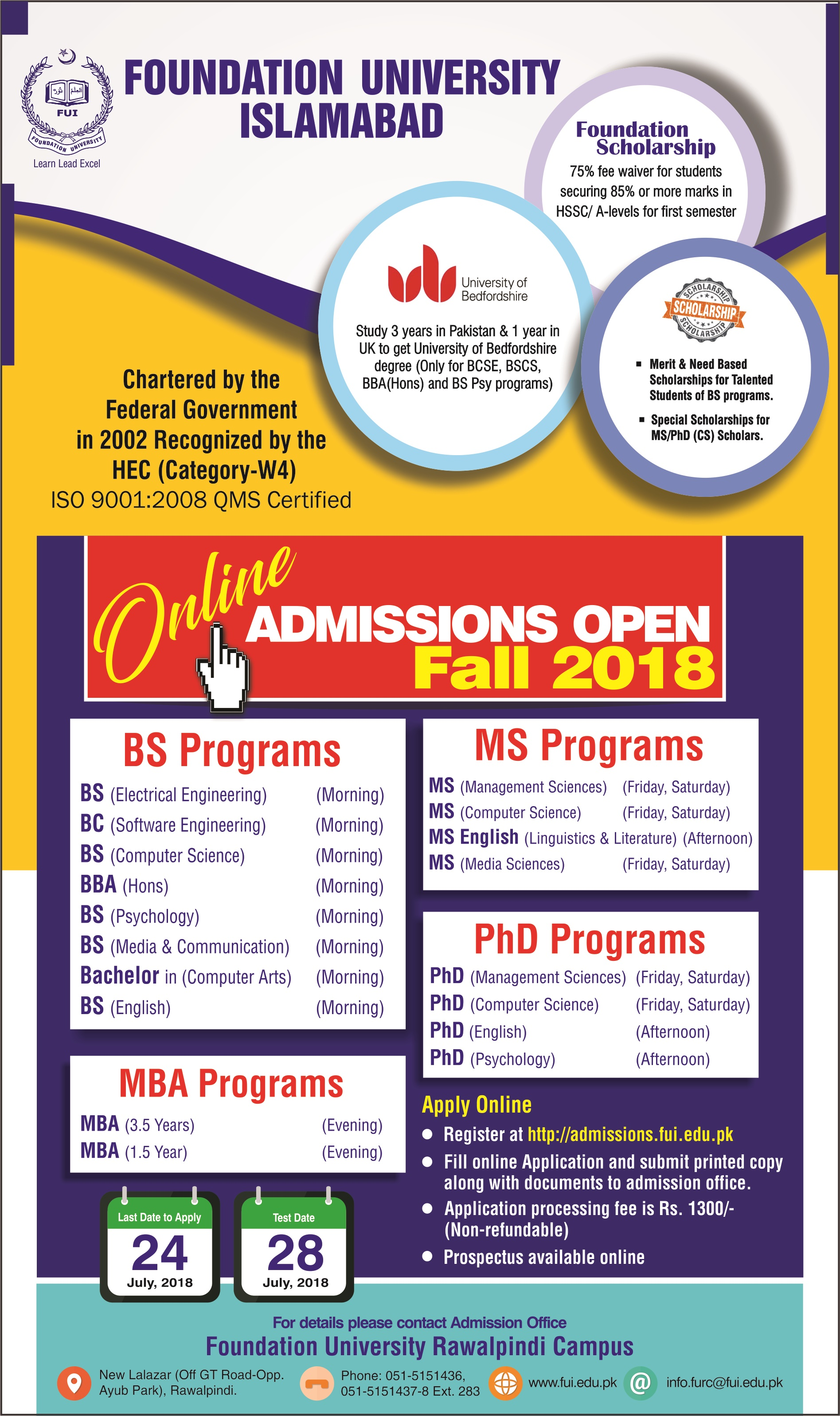BS Programs Admissions Open 2018 for Foundation University Islamabad (Rawalpindi Campus)