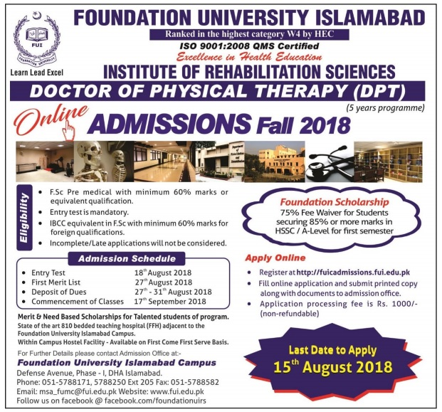 Doctor of Physical Therapy (DPT) Admissions Open 2018 for Foundation University Islamabad