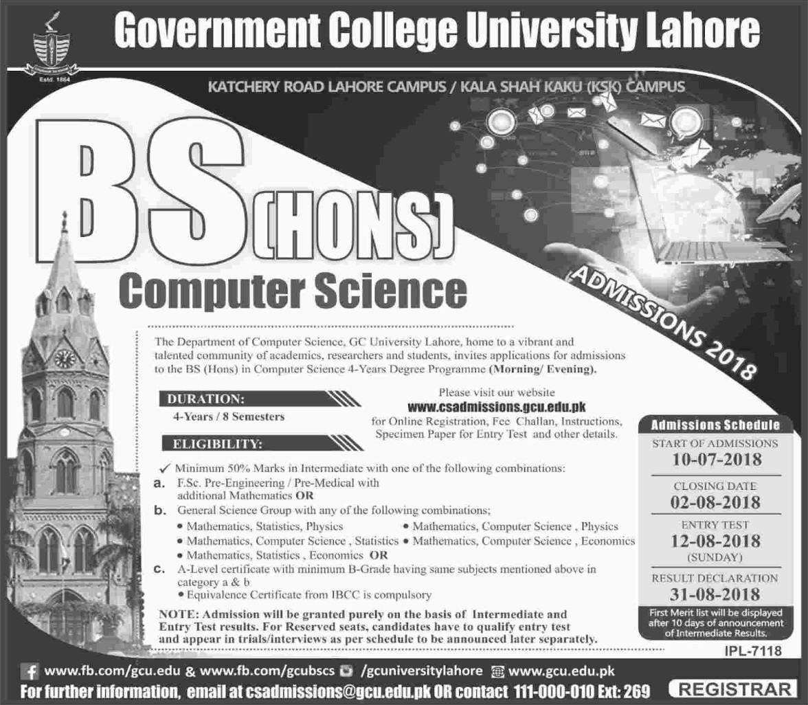 BSCS (Hons) Admissions Open – Government College University (GCU), Lahore