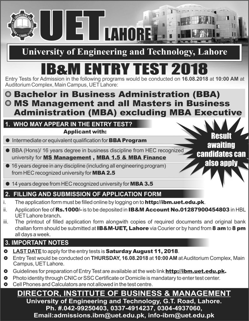 Institute of Business Management (IBM UET) Admissions 2018