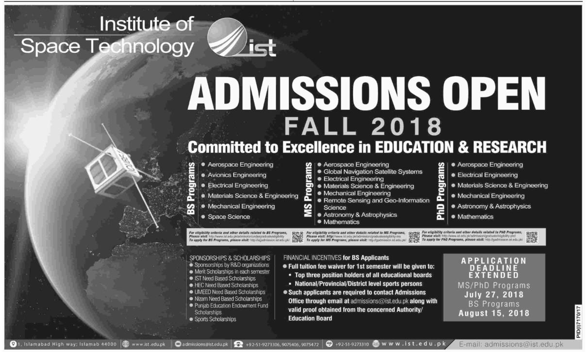 Deadline Extended for Institute of Space Technology (IST) – Admissions Fall 2018