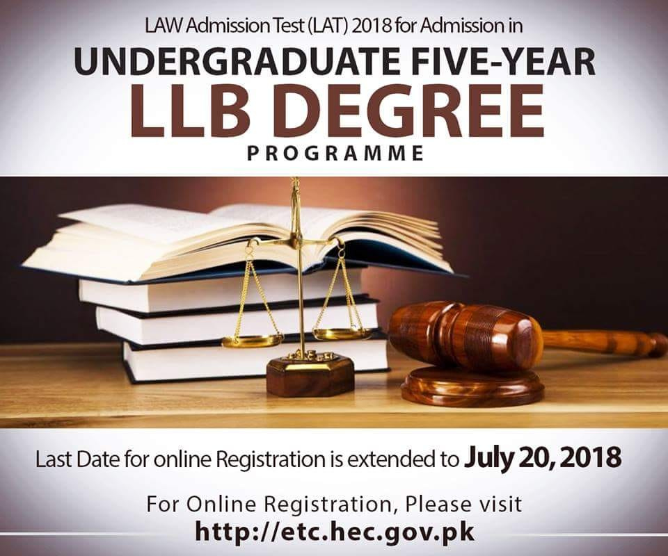 Deadline Extended for Law Admission Test (LAT) 2018 – Undergraduate 5 Year LLB Degree Program