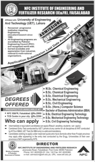 NFC (IE & FR), Faisalabad – Admissions Open 2018-19