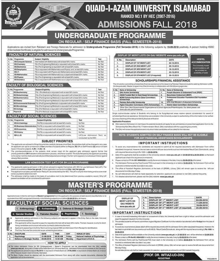 Quaid-i-Azam University – Admissions Fall 2018