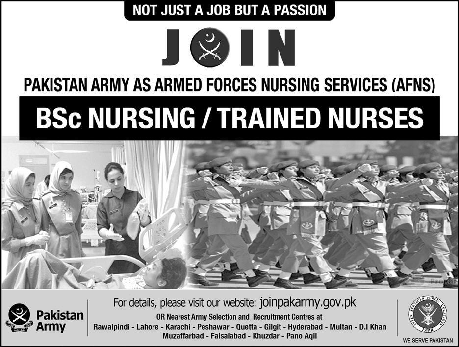 Join PAKISTAN ARMY as Armed Forces Nursing Services (AFNS) – Admissions 2018