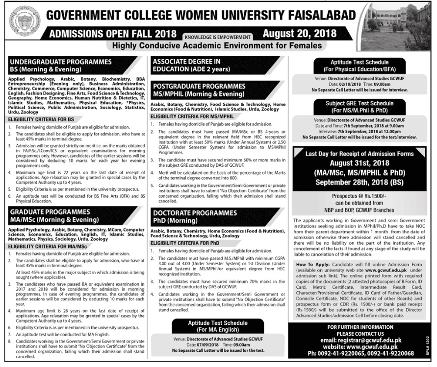 Government College Women University (GCWU) Faisalabad – Admissions Open Fall 2018