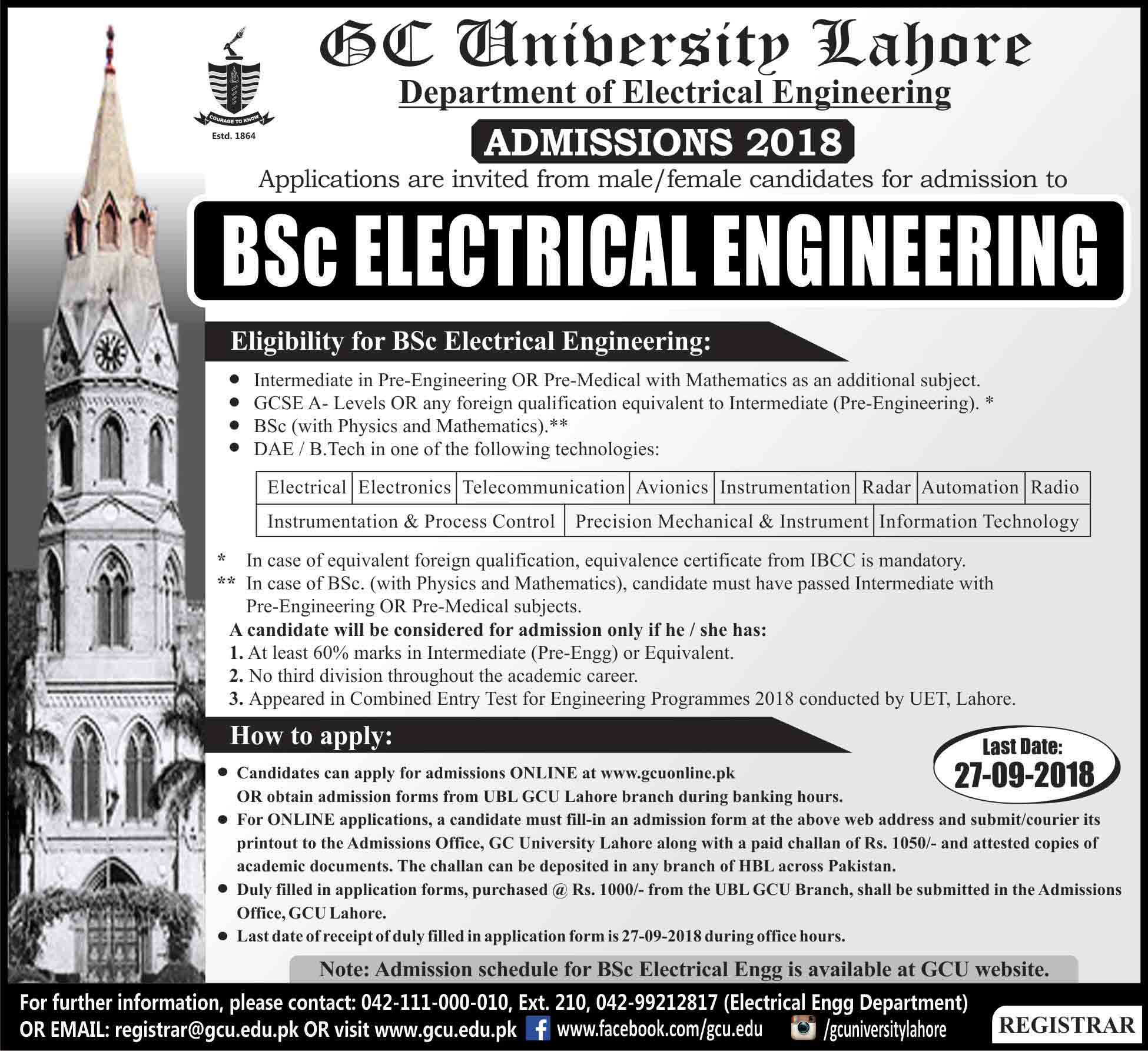 GC University Lahore (BSc Electrical Engineering) Admissions 2018