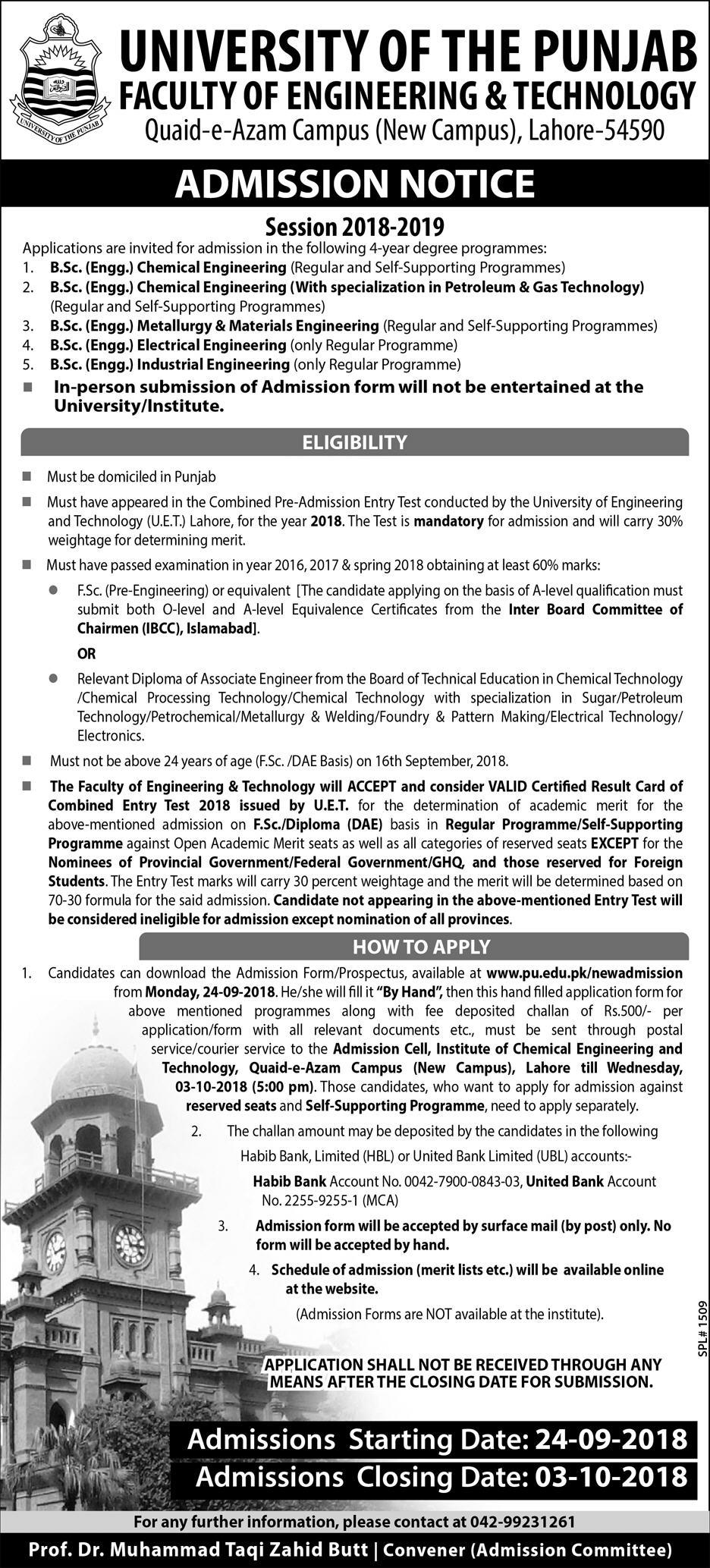 University of the Punjab Faculty of Engineering & Technology – Admissions 2018-19