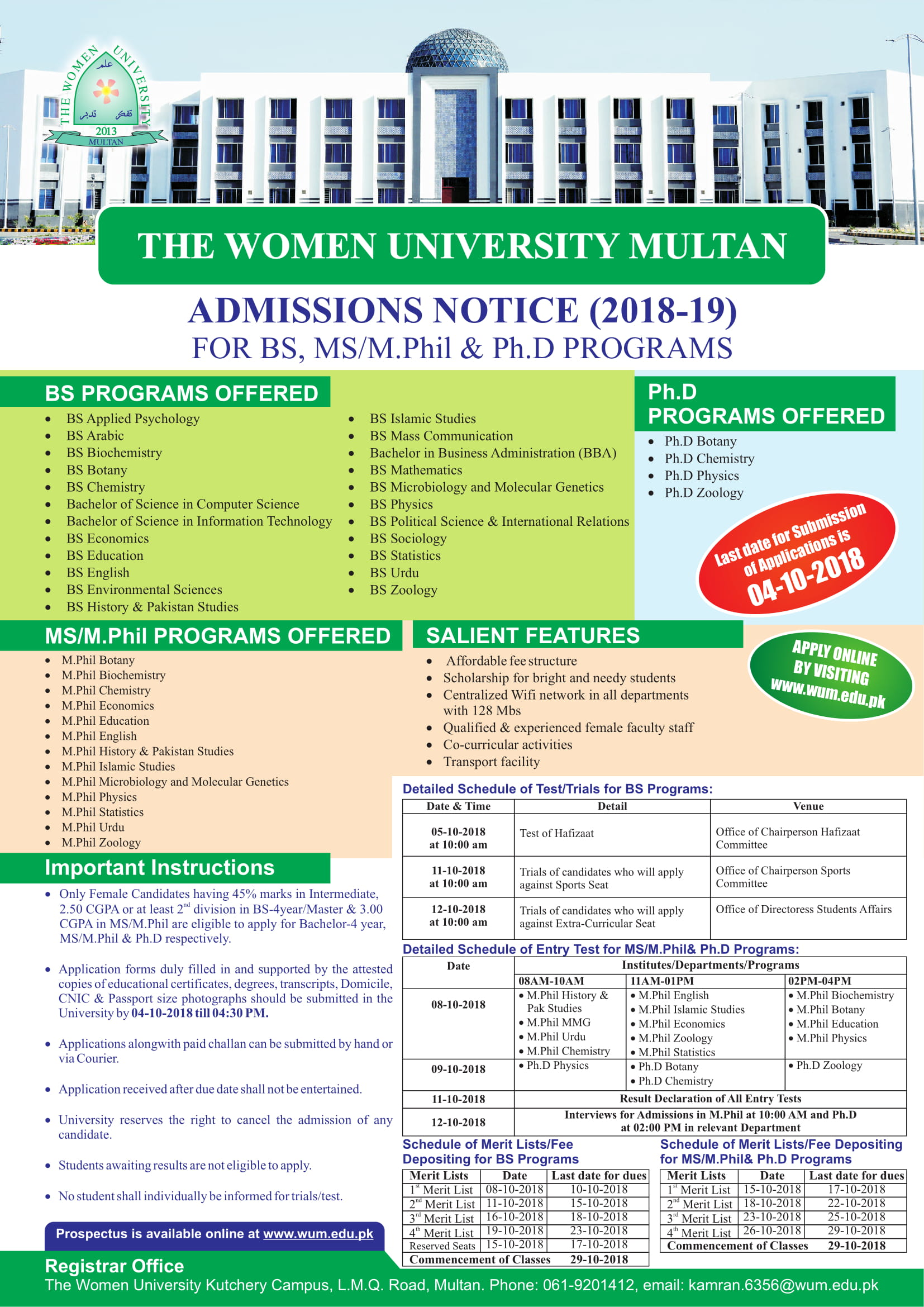 The Women University Multan BS Programs Admissions Fall 2018
