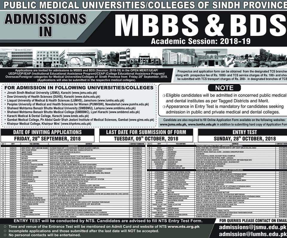 Public Medical Universities / Colleges of Sindh Province – MBBS & BDS Admissions 2018