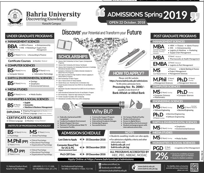 Bahria University Spring Admissions 2019