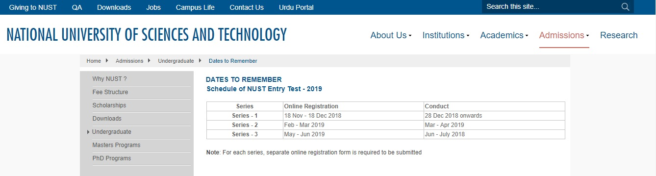 Schedule of NUST Entry Test 2018