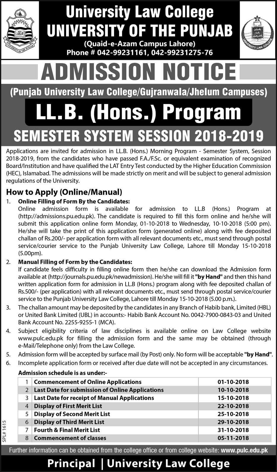 University Law College (PULC) – LL.B. (Hons.) Program Admissions 2018