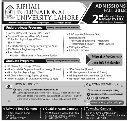 Ripah International University, Lahore – Admissions Fall 2018