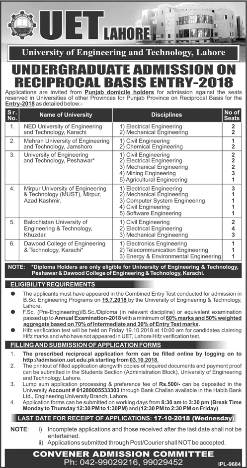 UET Lahore – Undergraduate Admissions on Reciprocal Basis Entry 2018