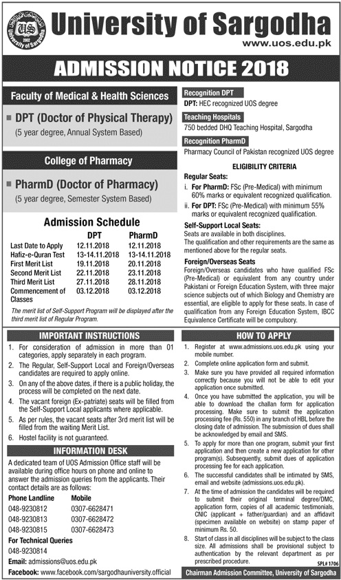 University of Sargodha ADMISSION NOTICE 2018 Faculty of Medical and Health Sciences College of Pharmacy