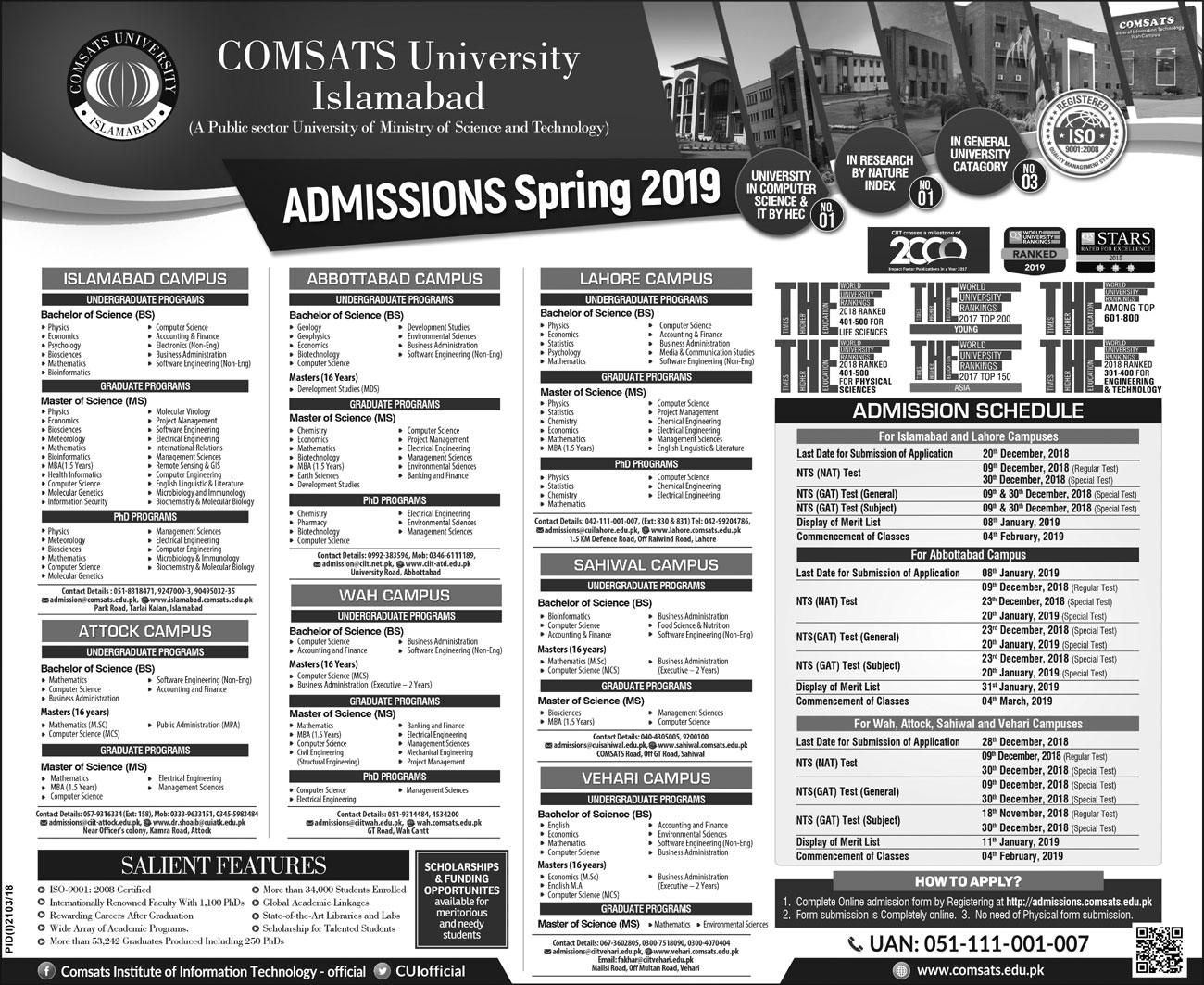 Comsats Admission Notice