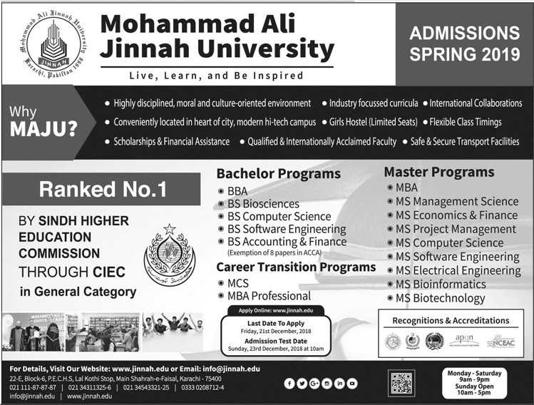Admissions open for Muhammad Ali Jinnah University