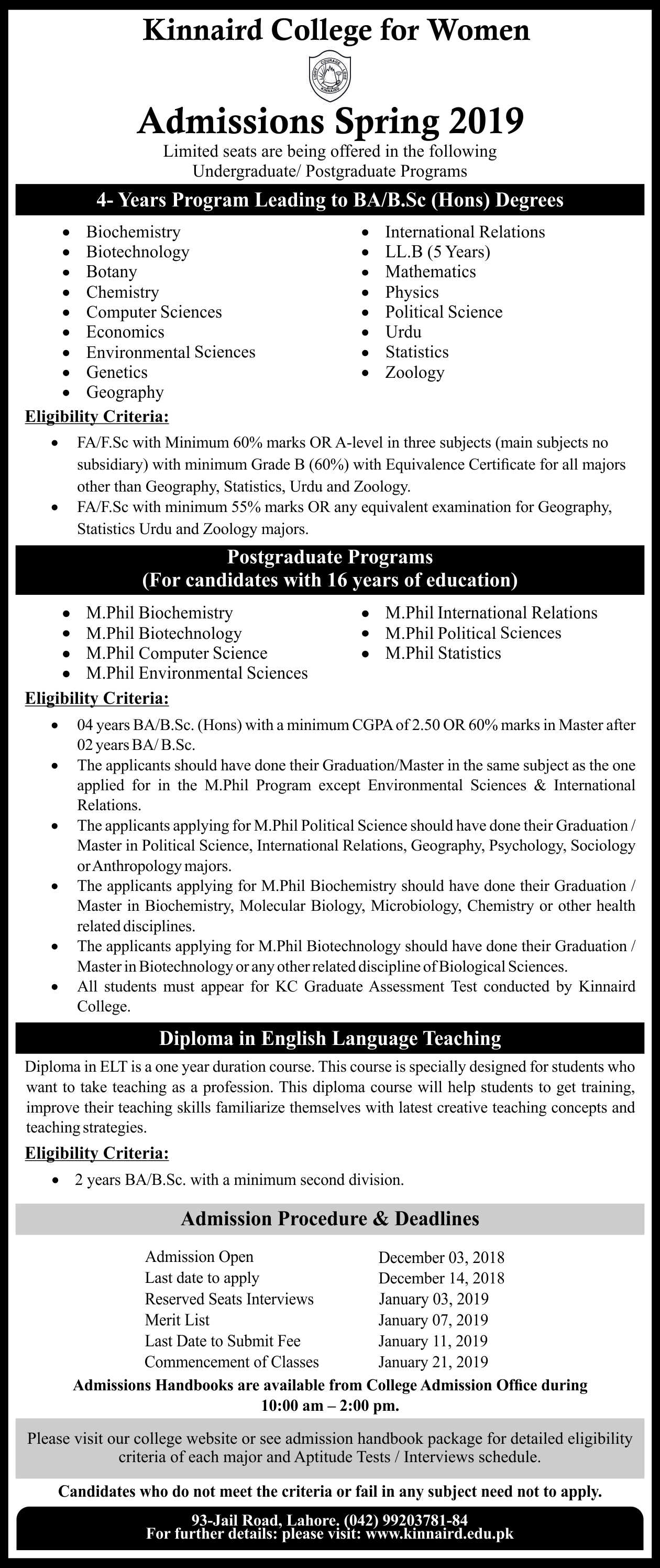 kinnaird College for Women Spring Admissions