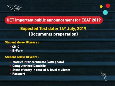 UET Important Public Announcement for ECAT 2019